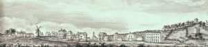View across Woolwich Common from the west, drawing of c.1792 by John Charnock.